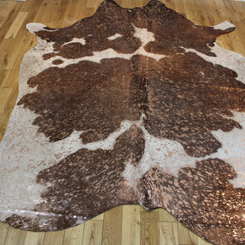 Rose-Gold Metallic Brown and White Cowhide Rug CM254