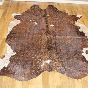 Rose-Gold Metallic Brown and White Cowhide Rug CM255