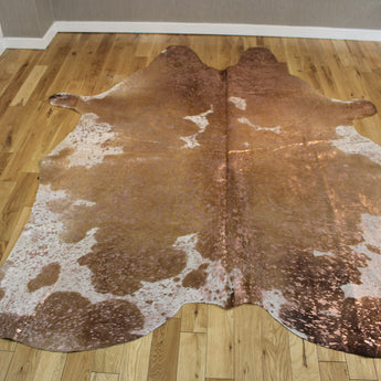 Rose-Gold Metallic Brown and White Cowhide Rug CM256