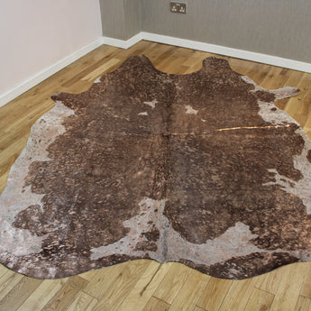 Rose-Gold Metallic Brown and White Cowhide Rug CM257