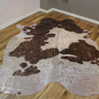 Rose-Gold Metallic Brown and White Cowhide Rug CM258