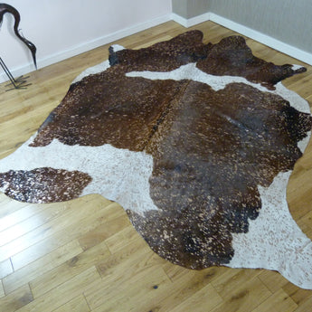 Brown and White Rose-Gold Metallic Cowhide Rug CM168