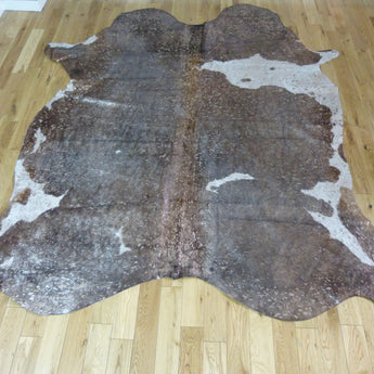 Brown and White Rose-Gold Metallic Cowhide Rug CM170