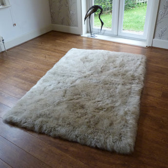 Rectangular Sheepskin Rug Stone 120x180cm