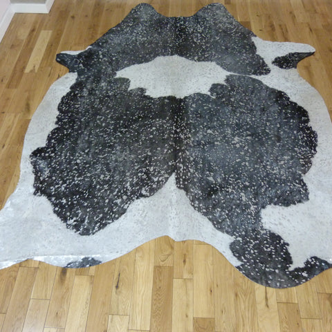 Black and White with Silver Metallic Cowhide Rug CM167