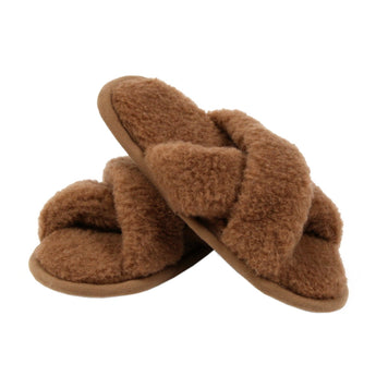 Camel and Merino Wool Unisex Slippers - Brown