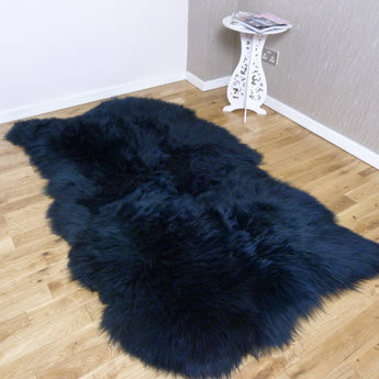 Navy Blue Sheepskin Rug