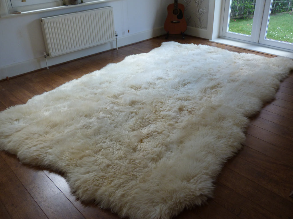 Xl British Natural Ivory White Sheepskin Rug 12 Skin