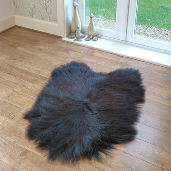 Black Icelandic sheepskin rug