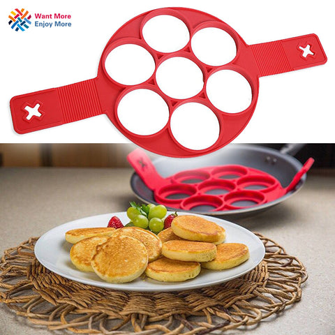 Image of 7 Cavity Flippin' Nonstick Pancake Maker Egg Omelets Hash