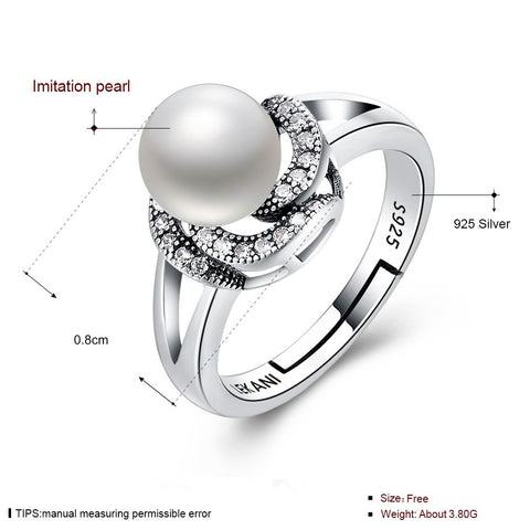 Image of 925 Sterling Silver Ring Pearl series retro flower adjustable ring