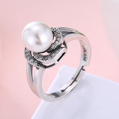 925 Sterling Silver Ring Pearl series retro flower adjustable ring