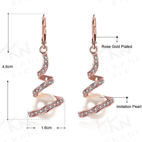 Image of Gold Plated Imitation Pearl Spiral Design Zircon Hoop Drop Earrings Jewelry