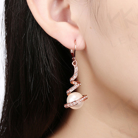 Gold Plated Imitation Pearl Spiral Design Zircon Hoop Drop Earrings Jewelry