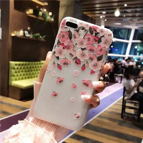 Image of Fashion 3D White Flower Paint Case For iPhone 8X 7 8 6 6s Plus 5s