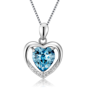 Silver Heart-shaped Simple chain blue Crystal Pendant