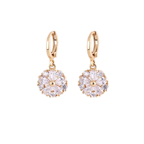 1Pair Clear Crystal Zircon 18K Gold Plated Elegant