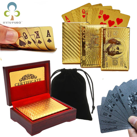 Image of Gold-style plastic cards Black Poker table game