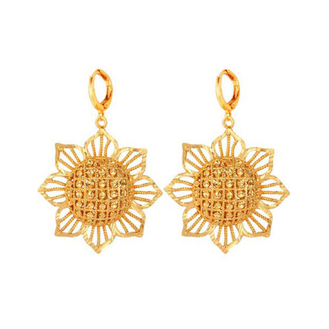 U7 Gold Plated Sun Flower Earrings Indian Jewelry Fashion Drop Earring
