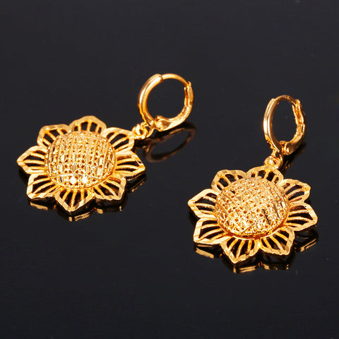 Image of U7 Gold Plated Sun Flower Earrings Indian Jewelry Fashion Drop Earring