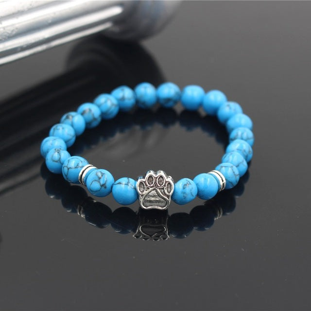 Natural Stone Yoga Bracelet Dog Hand Paw 8mm