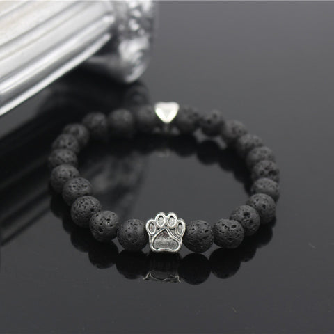 Image of Natural Stone Yoga Bracelet Dog Hand Paw 8mm