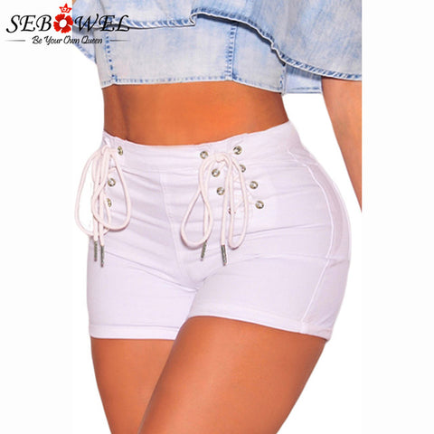 Sexy Jeans Shorts With High Waist Laces for Women