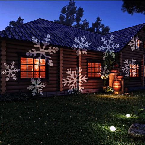 12 Patterns Christmas Laser Snowflake Projector Outdoor LED