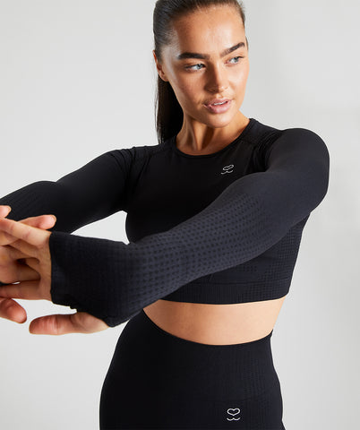 Seamless Long Sleeve Crop Top - Black