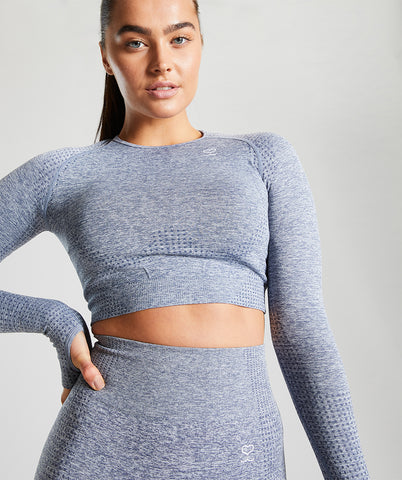 Seamless Long Sleeve Crop Top - Blue Marl