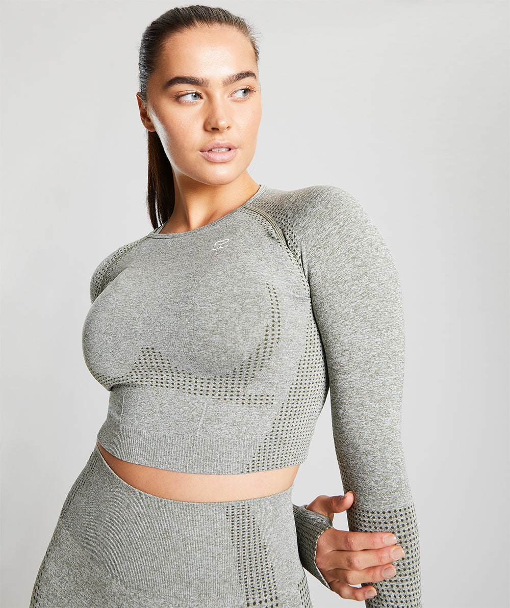 Seamless Long Sleeve Crop Top - Olive