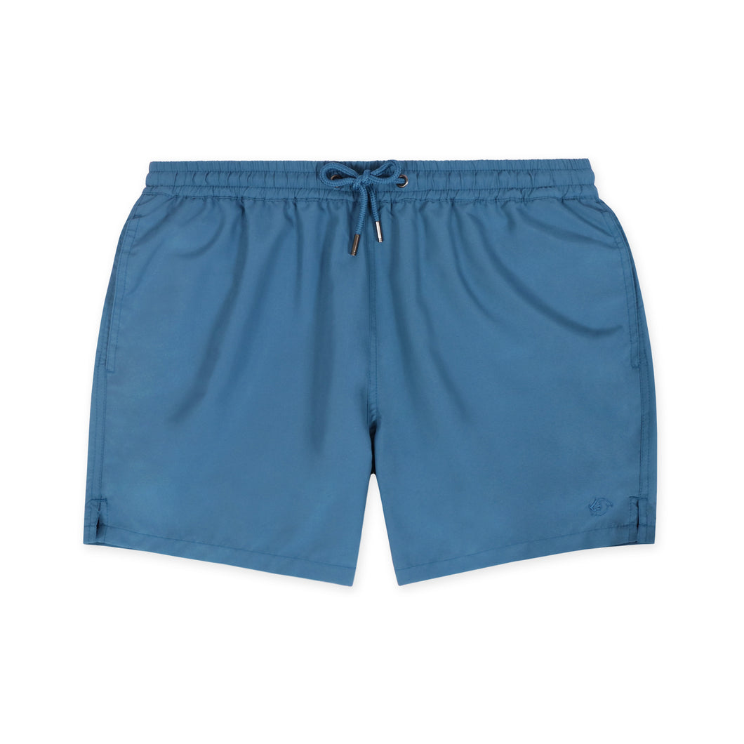 OWSS1801 Aegean Blue  Solid Colour Original Weekend men's recycled polyester swim short with elastic waist