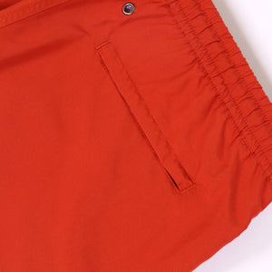 OWSS1801 Chili Red Solid Colour Original Weekend men's recycled polyester swim short with elastic waist back welt zip pocket detail