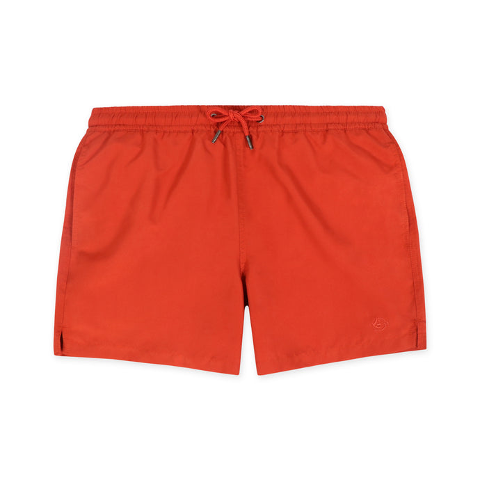 OWSS1801 Chili Red Solid Colour Original Weekend men's recycled polyester swim short with elastic waist