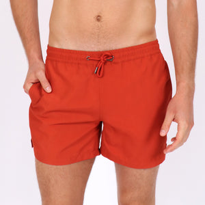 OWSS1801 Chili Red Solid Colour Original Weekend men's recycled polyester swim short with elastic waist on body front view