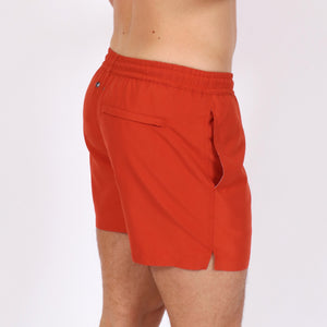 OWSS1801 Chili Red Solid Colour Original Weekend men's recycled polyester swim short with elastic waist on body side view