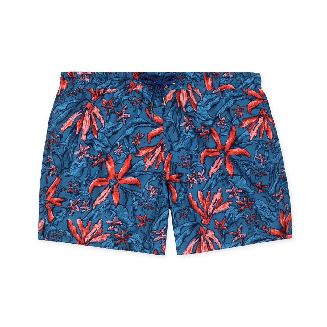 OWSS1802 Jungle Floral Print Original Weekend men's recycled polyester swim short with elastic waist