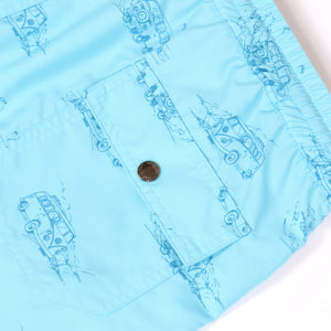 OWSS1803 Aqua Blue Holiday Van Print Original Weekend men's recycled polyester swim short with elastic waist back flap pocket with branded stud detail