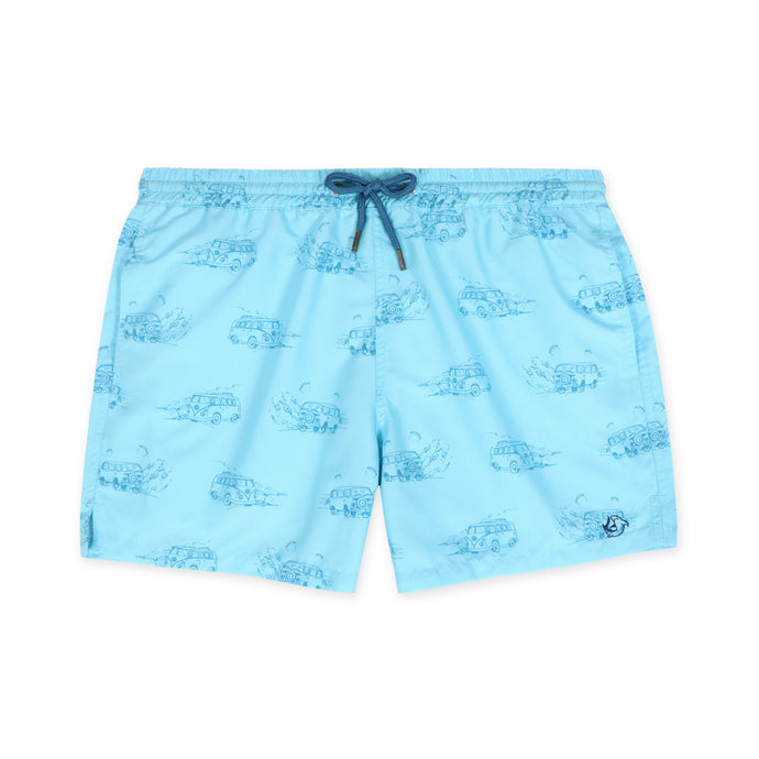 OWSS1803 Aqua Blue Holiday Van Print Original Weekend men's recycled polyester swim short with elastic waist