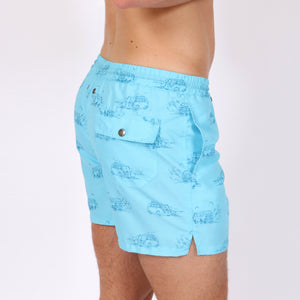 OWSS1803 Aqua Blue Holiday Van Print Original Weekend men's recycled polyester swim short with elastic waist on body side view