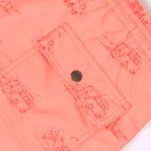 OWSS1803 Coral Pink Holiday Van Print Original Weekend men's recycled polyester swim short with elastic waist back flap pocket with branded stud detail