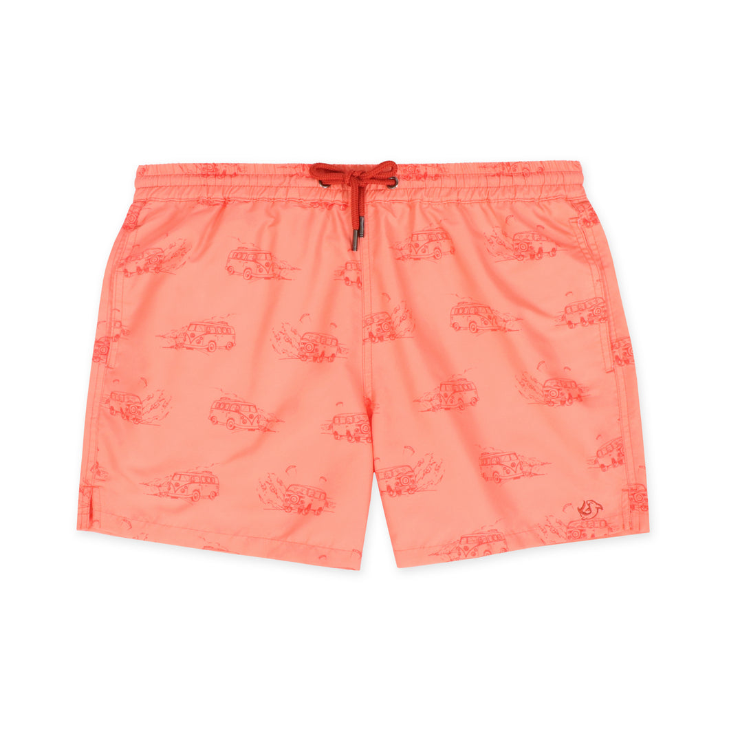 OWSS1803 Coral Pink Holiday Van Print Original Weekend men's recycled polyester swim short with elastic waist