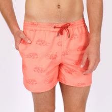 Load image into Gallery viewer, OWSS1803 Coral Pink Holiday Van Print Original Weekend men's recycled polyester swim short with elastic waist on body front view
