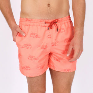 OWSS1803 Coral Pink Holiday Van Print Original Weekend men's recycled polyester swim short with elastic waist on body front view