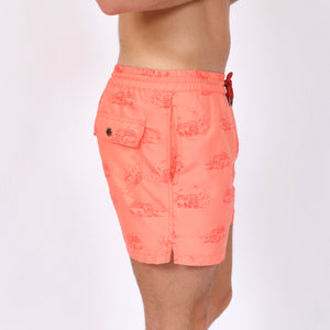 OWSS1803 Coral Pink Holiday Van Print Original Weekend men's recycled polyester swim short with elastic waist on body side view
