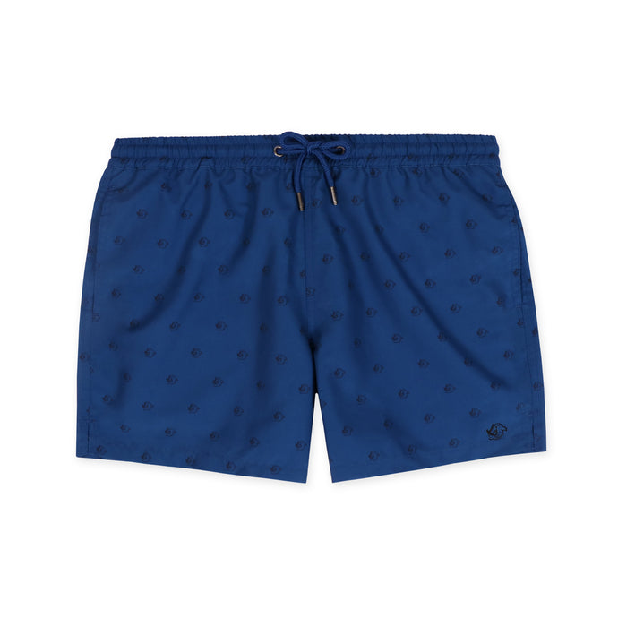 OWSS1804 Navy Shark Print Original Weekend men's recycled polyester swim short with elastic waist