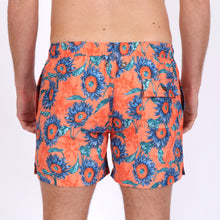 Load image into Gallery viewer, Original Weekend men's Sunflower floral print recycled polyester swim short with elastic waist on body back view