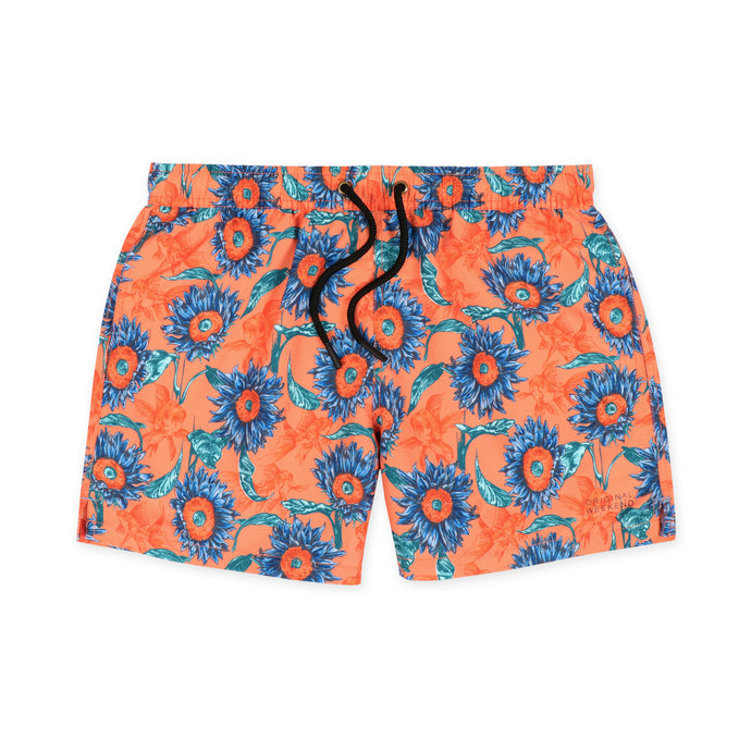 Original Weekend men's Sunflower floral print recycled polyester swim short with elastic waist flat lay