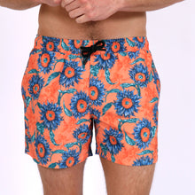 Load image into Gallery viewer, Original Weekend men's Sunflower floral print recycled polyester swim short with elastic waist on body front view