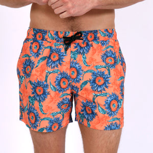 Original Weekend men's Sunflower floral print recycled polyester swim short with elastic waist on body front view